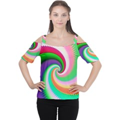 Colorful Spiral Dragon Scales   Women s Cutout Shoulder Tee by designworld65