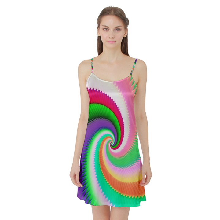 Colorful Spiral Dragon Scales   Satin Night Slip