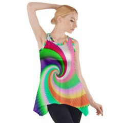 Colorful Spiral Dragon Scales   Side Drop Tank Tunic by designworld65