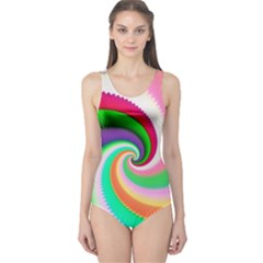 Colorful Spiral Dragon Scales   One Piece Swimsuit
