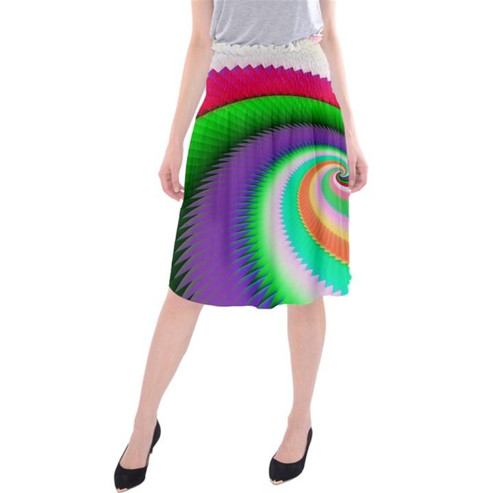 Colorful Spiral Dragon Scales   Midi Beach Skirt