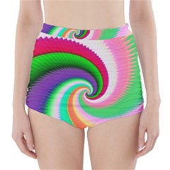 Colorful Spiral Dragon Scales   High Waisted Bikini Bottoms by designworld65