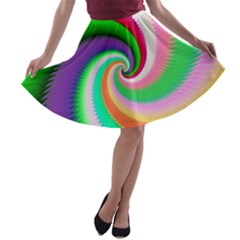 Colorful Spiral Dragon Scales   A Line Skater Skirt by designworld65