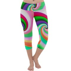 Colorful Spiral Dragon Scales   Capri Yoga Leggings by designworld65
