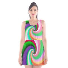 Colorful Spiral Dragon Scales   Scoop Neck Skater Dress by designworld65