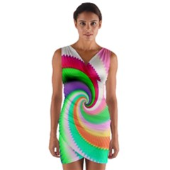 Colorful Spiral Dragon Scales   Wrap Front Bodycon Dress by designworld65