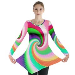 Colorful Spiral Dragon Scales   Long Sleeve Tunic