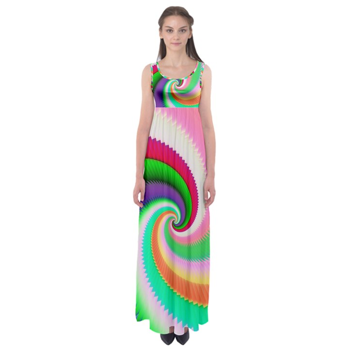 Colorful Spiral Dragon Scales   Empire Waist Maxi Dress