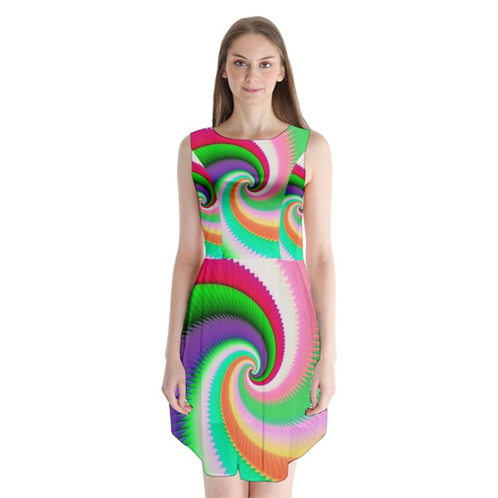 Colorful Spiral Dragon Scales   Sleeveless Chiffon Dress