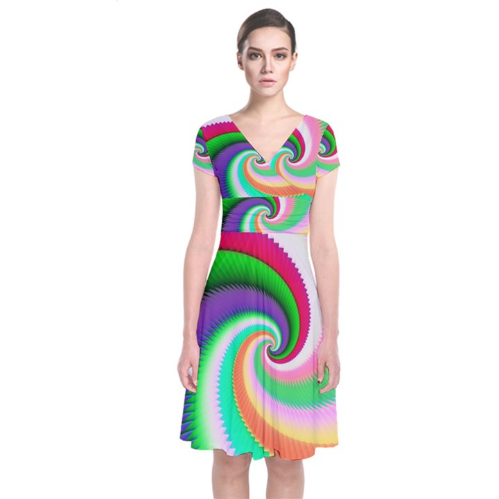 Colorful Spiral Dragon Scales   Short Sleeve Front Wrap Dress