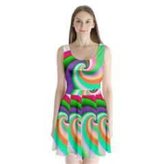 Colorful Spiral Dragon Scales   Split Back Mini Dress  by designworld65