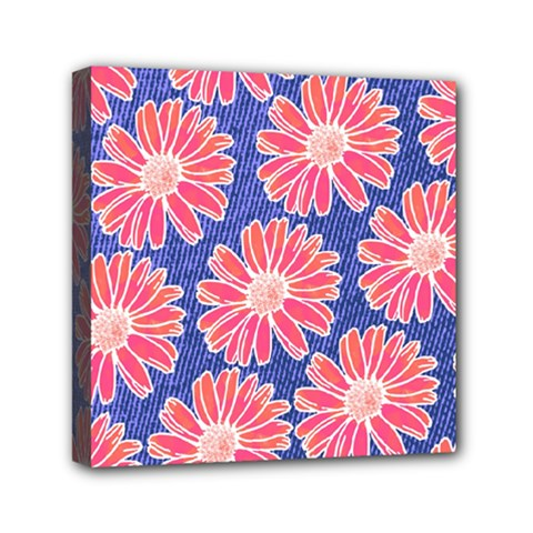 Pink Daisy Pattern Mini Canvas 6  X 6  by DanaeStudio