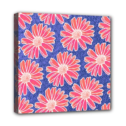 Pink Daisy Pattern Mini Canvas 8  X 8  by DanaeStudio