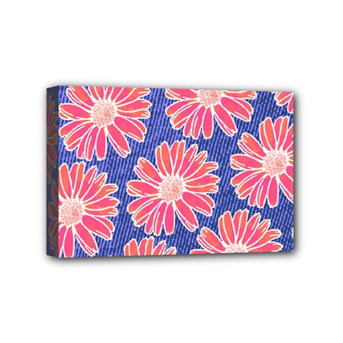 Pink Daisy Pattern Mini Canvas 6  X 4  by DanaeStudio