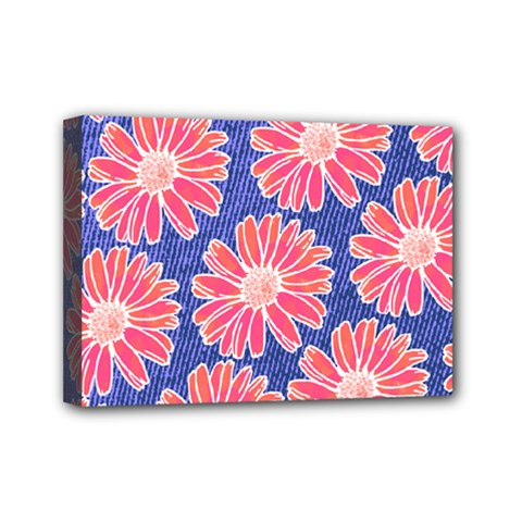 Pink Daisy Pattern Mini Canvas 7  X 5  by DanaeStudio