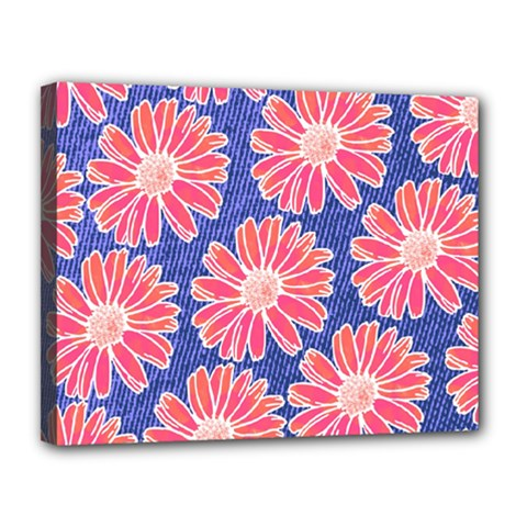 Pink Daisy Pattern Canvas 14  X 11  by DanaeStudio