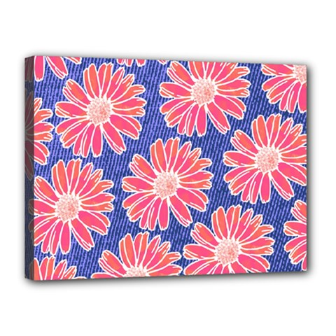 Pink Daisy Pattern Canvas 16  X 12  by DanaeStudio