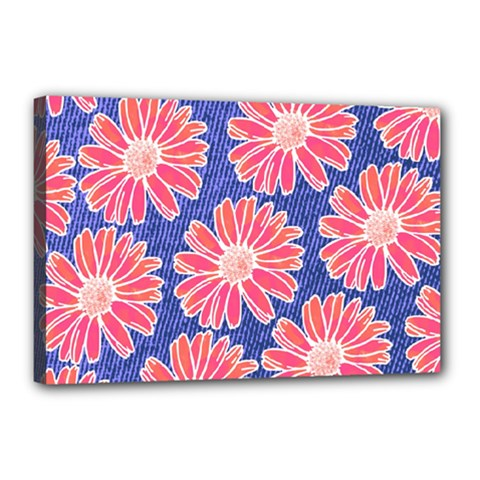 Pink Daisy Pattern Canvas 18  X 12  by DanaeStudio