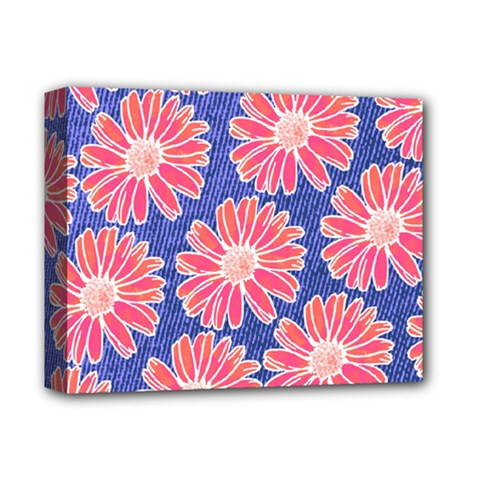 Pink Daisy Pattern Deluxe Canvas 14  X 11  by DanaeStudio