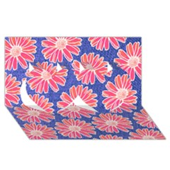 Pink Daisy Pattern Twin Hearts 3d Greeting Card (8x4)