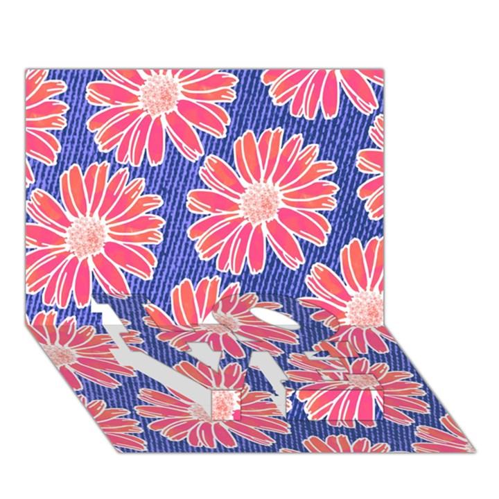 Pink Daisy Pattern LOVE Bottom 3D Greeting Card (7x5)