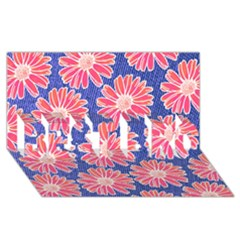 Pink Daisy Pattern Best Bro 3d Greeting Card (8x4) by DanaeStudio