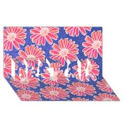 Pink Daisy Pattern Best Sis 3d Greeting Card (8x4)