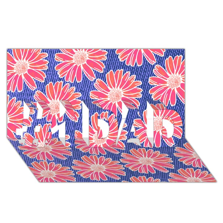 Pink Daisy Pattern #1 DAD 3D Greeting Card (8x4)