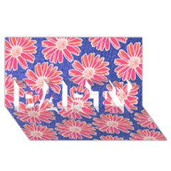 Pink Daisy Pattern PARTY 3D Greeting Card (8x4)