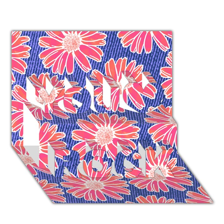Pink Daisy Pattern You Rock 3D Greeting Card (7x5)
