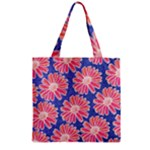 Pink Daisy Pattern Zipper Grocery Tote Bag