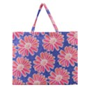 Pink Daisy Pattern Zipper Large Tote Bag View1