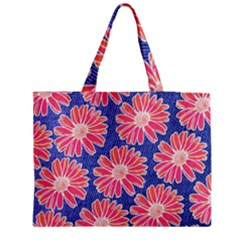Pink Daisy Pattern Medium Zipper Tote Bag by DanaeStudio