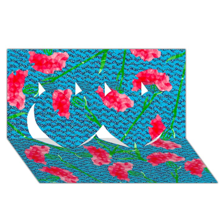 Carnations Twin Hearts 3D Greeting Card (8x4)