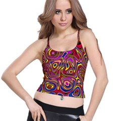 Abstract Shimmering Multicolor Swirly Spaghetti Strap Bra Top
