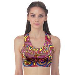 Abstract Shimmering Multicolor Swirly Sports Bra