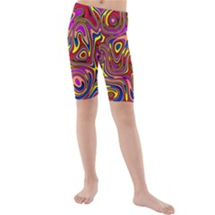 Abstract Shimmering Multicolor Swirly Kids  Mid Length Swim Shorts