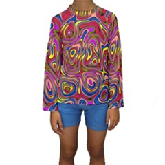 Abstract Shimmering Multicolor Swirly Kids  Long Sleeve Swimwear