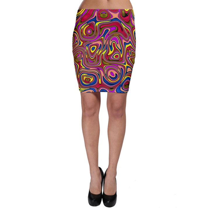 Abstract Shimmering Multicolor Swirly Bodycon Skirt