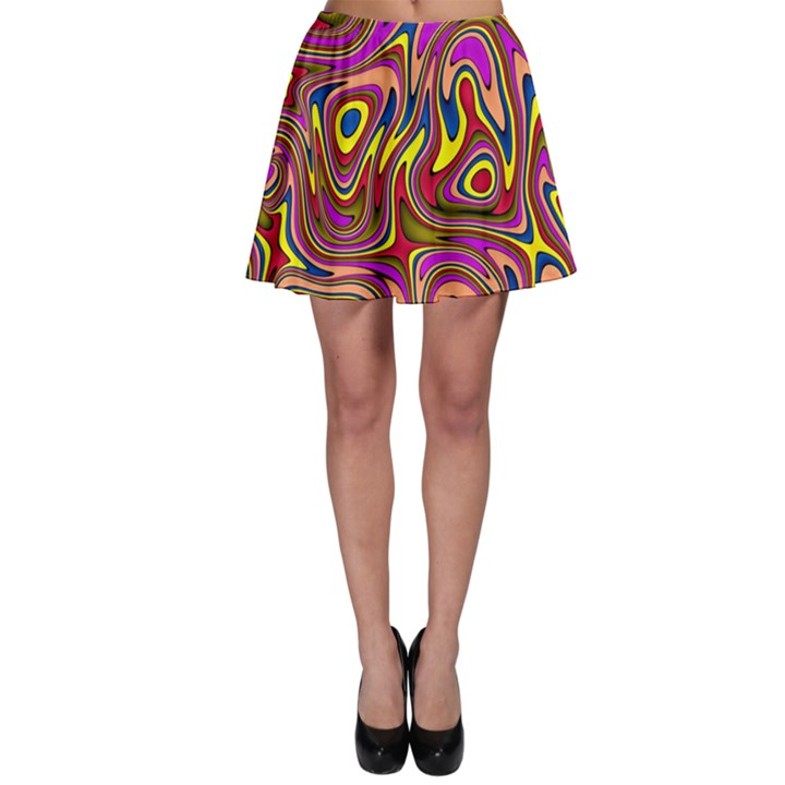 Abstract Shimmering Multicolor Swirly Skater Skirt