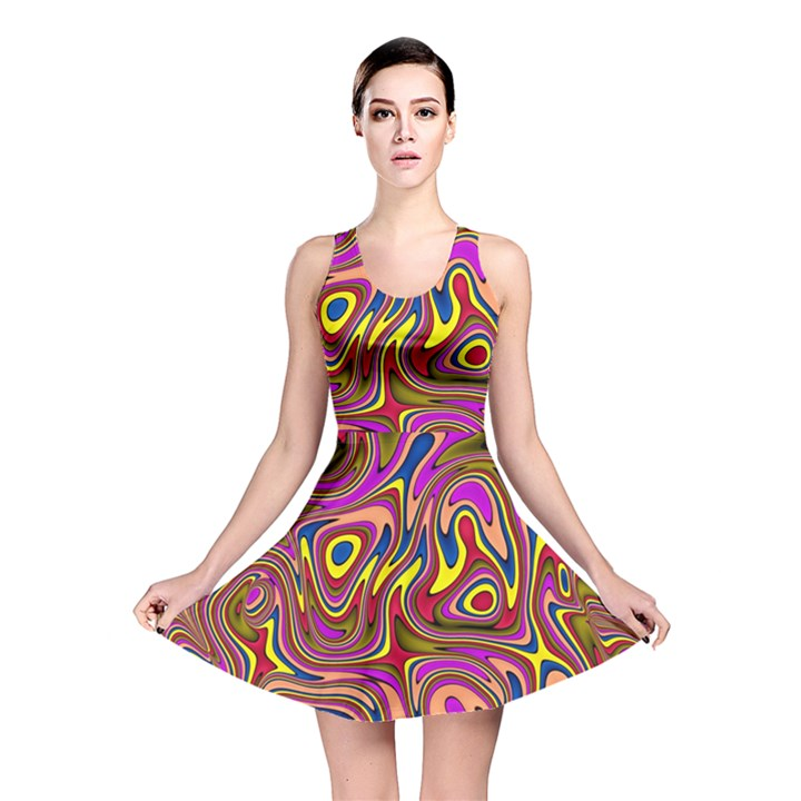 Abstract Shimmering Multicolor Swirly Reversible Skater Dress