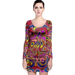 Abstract Shimmering Multicolor Swirly Long Sleeve Bodycon Dress