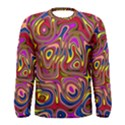Abstract Shimmering Multicolor Swirly Men s Long Sleeve Tee View1