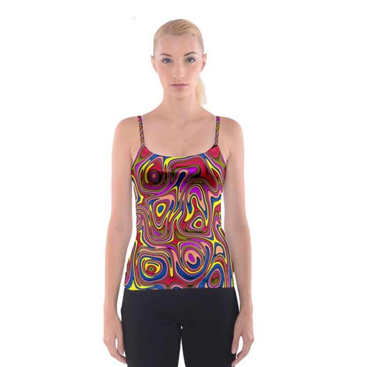 Abstract Shimmering Multicolor Swirly Spaghetti Strap Top