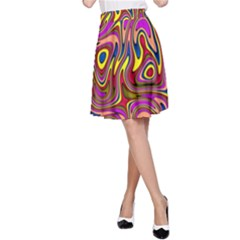 Abstract Shimmering Multicolor Swirly A-Line Skirt