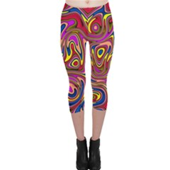 Abstract Shimmering Multicolor Swirly Capri Leggings