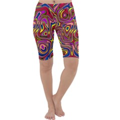 Abstract Shimmering Multicolor Swirly Cropped Leggings