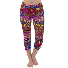 Abstract Shimmering Multicolor Swirly Capri Winter Leggings