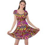 Abstract Shimmering Multicolor Swirly Cap Sleeve Dresses