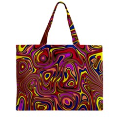 Abstract Shimmering Multicolor Swirly Zipper Mini Tote Bag